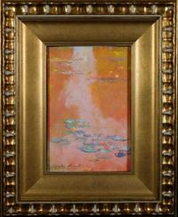 Tempera and gouache on paper attributed to French Impressionist Claude Monet (1840-1926), titled Waterlilies, signed, framed and verso marked with a gallery stamp (est.  $50,000-$80,000).