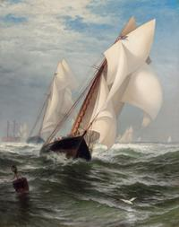 "EDWARD MORAN, American (1829-1901), ""The Winning Yacht"" (Madeleine and Countess of Dufferin), oil on canvas, circa 1876, signed, 40 x 32 inches, Estimate:$40,000-60,000"