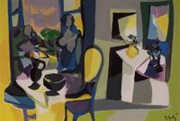 Marcel Mouly (French, 1918-2008), Interieur au deux Personnages, 1972, Oil on canvas, 19 3/4 x 28 3/4 inches.  Est.  $7,000-9,000
