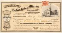 Munckton Gold & Silver Mining Company stock certificate (Dunderberg Lode, Mono County, Calif.), for 55 shares, issued on Dec.  9, 1870 in Carson City, Nevada ($1,125).