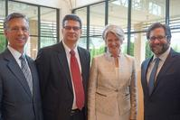 (Left to Right) MMA Board of Trustees President Mayo Flynt, Mississippi Humanities Council Executive Director Stuart Rockoff, MMA Director Betsy Bradley, and NEH Chairman Jon Peede at a reception held in Peede's honor at the Mississippi Museum of Art on Monday, September 10, 2018, during his visit to Jackson for the unveiling of the first marker in the Mississippi Writers Trail at the Eudora Welty House and Garden.