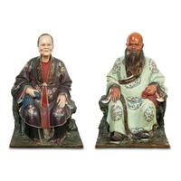 Pair of Chinese Export Polychrome-Decorated Clay Nodding Head Figures, Late 18th/early 19th century, Height 21 inches.  Est.  $40,000-60,000