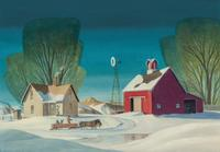 Oil on canvas painting by Dale Nichols (Am., 1904-1995), titled Winter on the Farm, artist signed, 20 inches by 28 inches (est.  $50,000-$75,000).