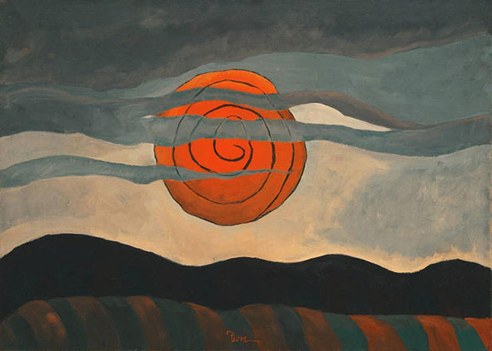 Arthur Dove (1880-1946) Red Sun, 1935.  Oil on canvas, 20 1/4 x 28 inches.  The Phillips Collection, Washington, D.C.  Acquired 1935