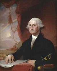 Gilbert Stuart (1755-1828) Portrait of George Washington, 1822.  Oil on canvas, 44 1/8 x 34 1/2 inches.  Hammer Galleries.