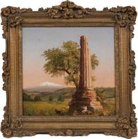 "SARAH COLE (1805-1857) Ancient Column Near Syracuse, c.  1848.  Oil on canvas, 11 7/8 x 11 7/8 inches.  Inscribed verso, ""A Column Standing near Syracuse, Sicily copied from a picture by T.  Cole by S.  Cole"""