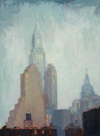 ALICE HIRSCH (1888-1935) Chrysler Building, 1931.  Oil on canvas board, 16 x 12 inches.  Signed titled and dated 1931, lower right
