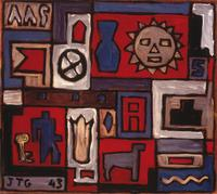 Joaquín Torres García, Composition on Sun (Composición con sol), 1943.  Oil on fibreboard on chipboard.  Colección Pérez Simón, Mexico.  Courtesy of the Estate of Joaquín Torres-García.