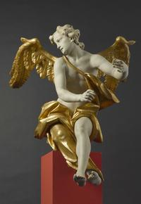 Sitting Angel: An extremely life-like modeled figure of an angel whose mate is in the Bavarian National Museum, this wood-and-gilt sculpture is by the German Baroque sculptor and woodcarver Johann Joseph Christian, who worked in the mid-18th-century in southern Germany.