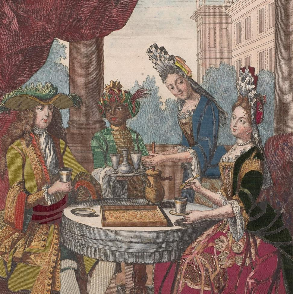 "DETAIL: ""Un cavallier, et une dame beuvant du chocolat,"" Robert Bonnart, 1690-1710, hand-colored engraving faced on reverse with fabrics.  The Morgan Library & Museum, New York"