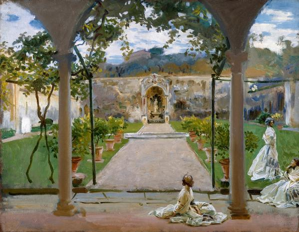 John Singer Sargent, At Torre Galli: Ladies in a Garden, 1910, oil on canvas; 71.1 x 91.4 cm; Lent by the Royal Academy of Arts, London, 03/1388.
