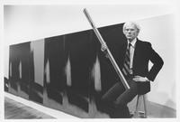 Andy Warholwith Shadows (1978–79) at Heiner Friedrich Gallery, 393 West Broadway, New York, in 1979.  © The Andy Warhol Foundation for the Visual Arts, Inc./Artists Rights Society (ARS), New York.