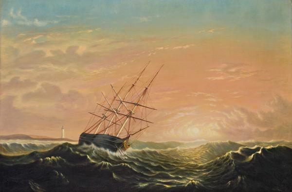 Oil on canvas by Mary Blood Mellen (Am., 1817-1882), titled Ship at Sea (est.  $200,000-$300,000).