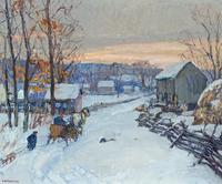 Oil on canvas by Edward Willis Redfield (Am., 1869-1965), titled Sleigh Days (est.  $100,000-$150,000).