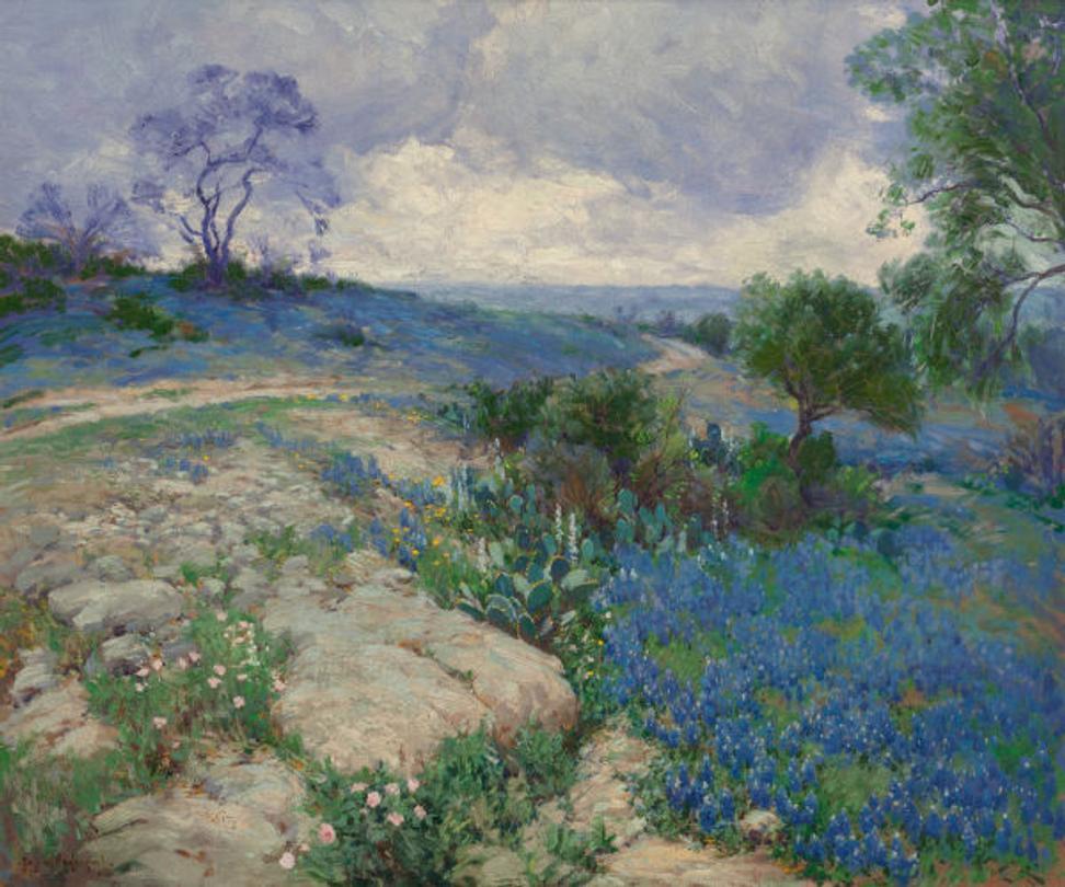 Watercolor artists in texas - Texas Landscape With Bluebonnets By Julian Onderdonk Offered Nov 7 In Dallas
