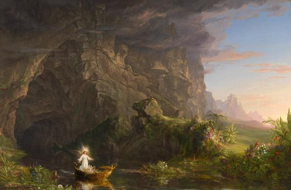 Thomas Cole (American, 1801–1848) The Voyage of Life: Childhood, 1839-40.  Oil on canvas, 52 x 78 in.  Museum Purchase, 55.105 Munson-Williams-Proctor Arts Institute, Museum of Art, Utica, N.Y.