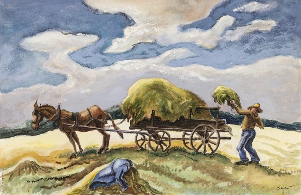 Thomas Hart Benton (1889-1975), Loading Hay, n.d., Watercolor and ink on paper, 14 1/2 x 22 in.