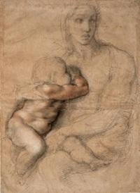 Michelangelo Buonarroti, Italian, Caprese 1475-1564 Rome.  Unfinished cartoon for a Madonna and Child, 1525-30.  Black and red chalk, white gouache, brush and brown wash.  Casa Buonarroti, Florence.