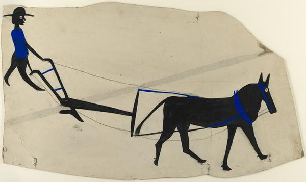 Bill Traylor, Mule and Plow, c.  193942.  Poster paint and ink on cardboard.  Harvard Art Museums/Fogg Museum, Collection of Didi and David Barrett 71, 2011.64.  Photo: Harvard Art Museums,  2011 President and Fellows of Harvard College.