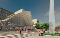The National Air and Space Museum in Washington, DC will undergo complete refacing of the exterior cladding, replacement of outdated mechanical systems and other repairs and improvements beginning in 2018.  This rendering shows the proposed design for the new entryway at the entrance from the National Mall.