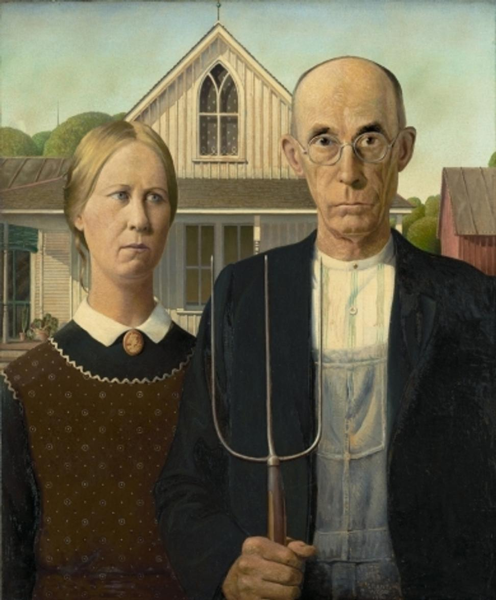 Grant Wood (1891-1942), American Gothic, 1930 © The Art Institute of Chicago.  On view in American Painting in the 1930s: The Age of Anxiety, at Musée de l'Orangerie, Oct.  12, 2016–Jan.  30, 2017.