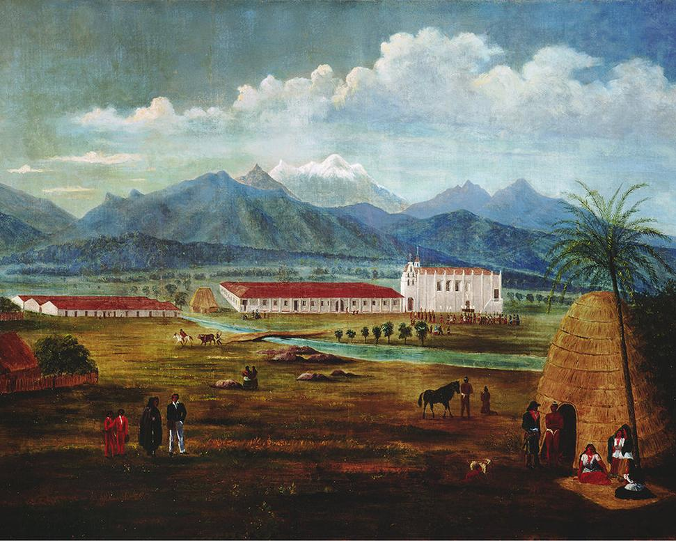"Ferdinand Deppe, San Gabriel Mission .  Oil on canvas.  c.  1832, 27 x 37 in.  Laguna Art Museum.  Part of the exhibition ""California Mexicana: Missions to Murals, 1820–1930 "" at Laguna Art Museum."