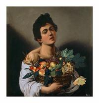 Boy with a Basket of Fruit, about 1593-94.  Caravaggio (Italian, 1571-1610).  Oil on canvas.  Ministero de Beni e delle Attività Culturali e del Turismo–Galleria Borghese.