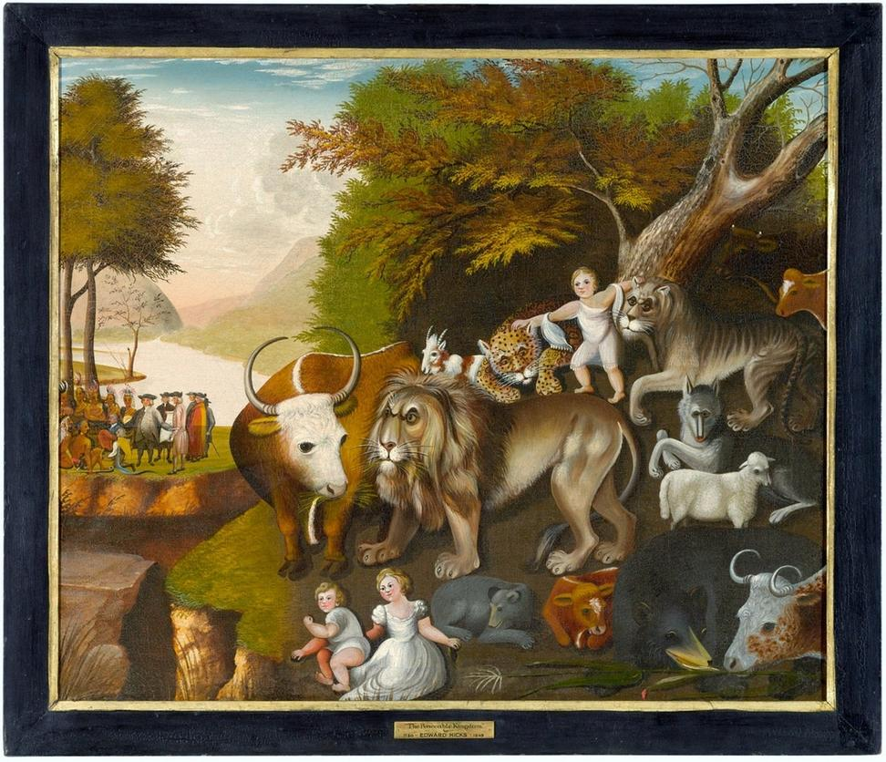 Edward Hicks, The Peaceable Kingdom with the Leopard of Serenity, 1846-48.