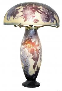 Emile Galle carved cameo glass lamp with signed shade and base, circa 1910, 31 inches tall.