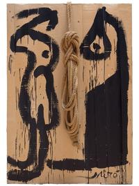 "Joan Miró, ""Painting (1977)"" House paint and rope on corrugated cardboard, mounted on wood, 130 x 90 cm Courtesy Mayoral, Barcelona"