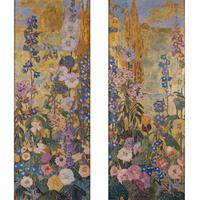 Mary Elizabeth Price (1877-1965), Flower Border I and Flower Border II, Signed and inscribed, Oil with gold, silver and copper leaf on board, 50 x 19 1/2 inches.  Est.  $60,000-100,000