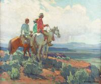 Lot 240: Edgar Alwin Payne (1883–1947), Navajo Scouting Party, oil on canvas, 28 x 34 in, Sold: $304,200