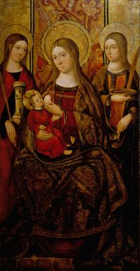 Master of Perea Madonna and Child with Saints Barbara and Lucy.  Spanish, 15th Century.  Oil on panel, 129,2 by 67,3 cm - 50,9 by 26,5 in