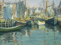 'Boats in Harbor, Gloucester' by Jane Peterson (1876-1965)