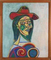 "Oil on canvas by Pablo Picasso (Sp., 1881-1973), titled Portrait of a Woman, measuring 21 inches by 25 ¼ inches in the frame, signed and dated ""7.1.39"" (est.  $200,000-$300,000)."