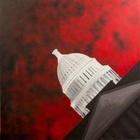 "Framed acrylic on masonite, ""Capitol Crawling with Soldiers, 1969-1970"" by Clayton Pinkerton.  48"" x 48"".  Overall: 48.5"" x 48.5"", $4/600."