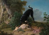 Jean-Jacques Bachelier (French 1724-1806), Two Pugs at Play, Signed, Oil on canvas, 24 7/8 x 34 5/8 inches.  Property from a Palm Beach Collection.  Est $8,000-12,000.