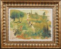 Tempera on paper Landscape Study attributed to Pierre-Auguste Renoir (Fr., 1841-1919), housed in a handsome frame that measures 12 ½ inches by 15 ¾ inches (est.  $40,000-$60,000).