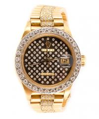 Ladies' Rolex Datejust President wristwatch in 18kt yellow gold, style #68278, having a black diamond dial set with 100 diamonds.