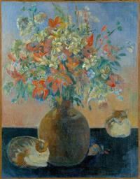 Paul Gauguin (French, 1848–1903) Flowers and Cats, 1899 Oil on canvas, 36 1/4 x 27 15/16 in.  (92 x 71 cm) Ny Carlsberg Glyptotek, Copenhagen, 1835 Photograph by Ole Haupt, © Ny Carlsberg Glyptotek, Copenhagen