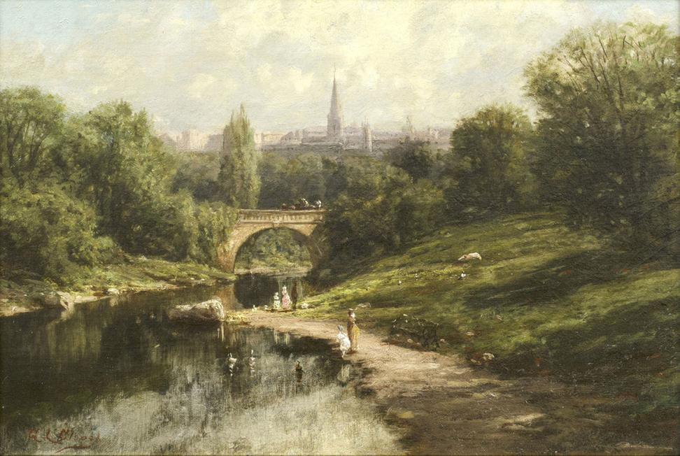 GEORGE LAFAYETTE CLOUGH (1824---- 1901) Balcony Bridge, Central Park, New York City Oil on canvas, 11 ⅛ x 16 ⅛ inches, Signed lower left