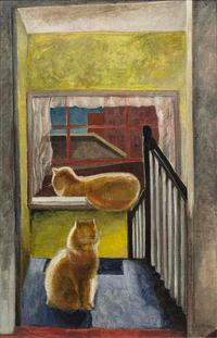 MARGUERITE ZORACH (1887---- 1968) Two Cats on Stairs (Tooky-West 10th Street), c.  1930 Oil on canvas, 34 x 22 inches, Signed lower right