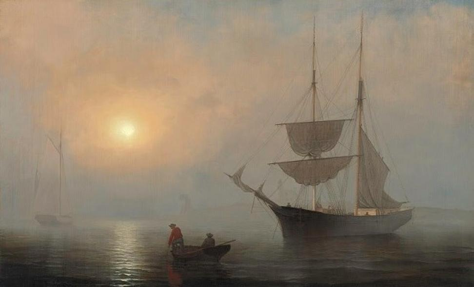 Fitz Henry Lane, Ship in Fog, Gloucester Harbor, ca.  1860.  Oil on canvas.  61 x 99 cm (24 x 39 in.) Princeton University Art Museum.  Museum purchase made possible by the Fowler McCormick, Class of 1921, Fund; the Kathleen C.  Sherrerd Program Fund for American Art; and Celia A.  Felsher, Class of 1976, and John L.  Cecil, Class of 1976
