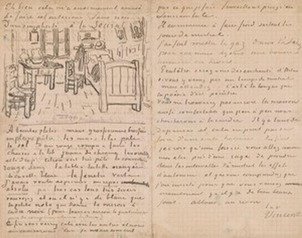 Vincent van Gogh (1853–1890), Letter to Paul Gauguin, 17 October 1888, with a sketch of Bedroom at Arles, pen and brown ink on graph paper, Thaw Collection, The Morgan Library & Museum, MA 6447.  Given in honor of Charles E.  Pierce, Jr., 2007.  Photography by Graham S.  Haber, 2016.
