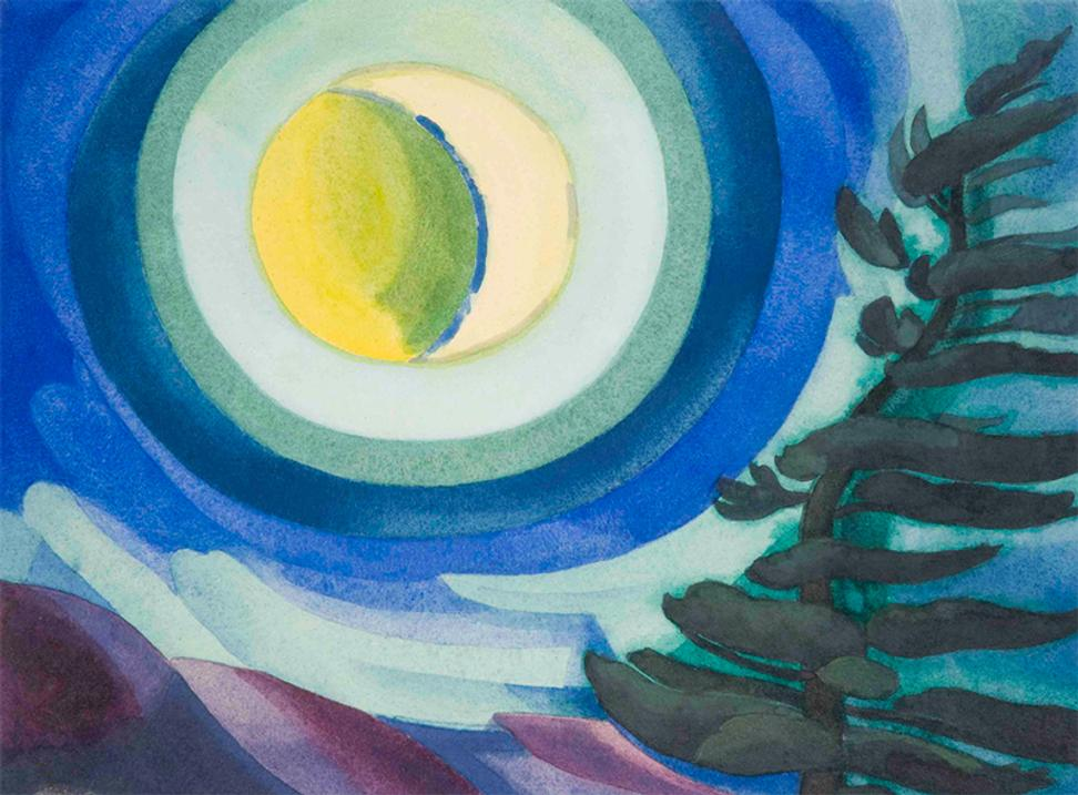 Oscar Florianus Bluemner (American, born in Germany, 1867-1938).  Moon Radiance, 1927.  Watercolor with gum coating on hot pressed off-white wove paper laid down by the artist to thick wood panel.  Collection of Karen and Kevin Kennedy.