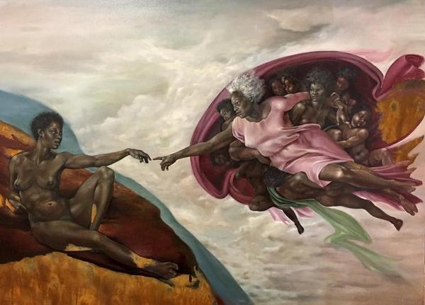 Harmonia Rosales, Version of Michelangelo's The Creation of Adam.