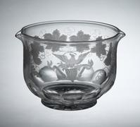 From the table service of Franklin Pierce, the 14th president of the United States, this wine rinser bears an engraving by Haughwout & Dailey of Manhattan on a blank made by the Brooklyn Flint Glass Company, 1853.