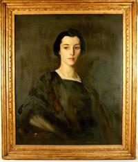 Oil on canvas portrait of Eleanor Slater by American artist Robert Henri, dated 1911.