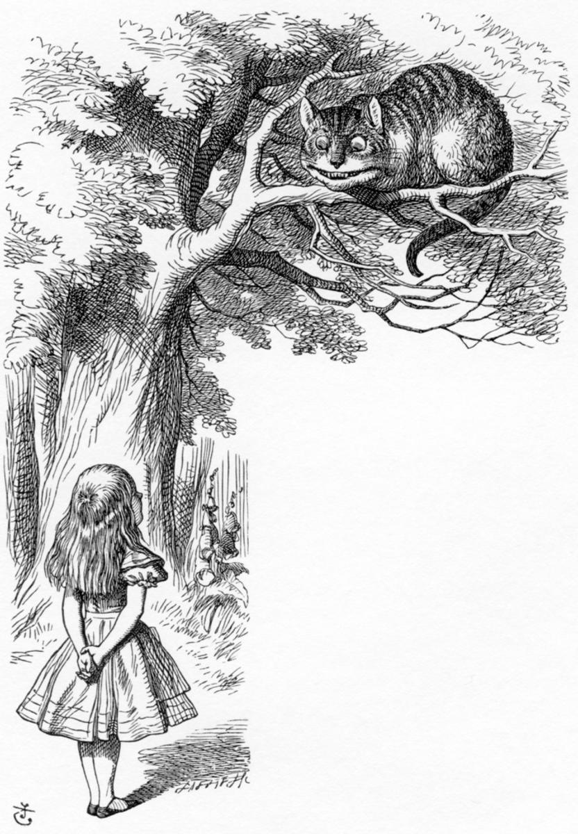 Alice and the Cheshire Cat Alice's Adventures in Wonderland London: Macmillan and Co.  1865 Illustrator: John Tenniel