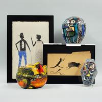Drawings by ex-slave Bill Traylor (American, 1854-1949) and ceramics by Karel Appel (Dutch, 1921-2006)